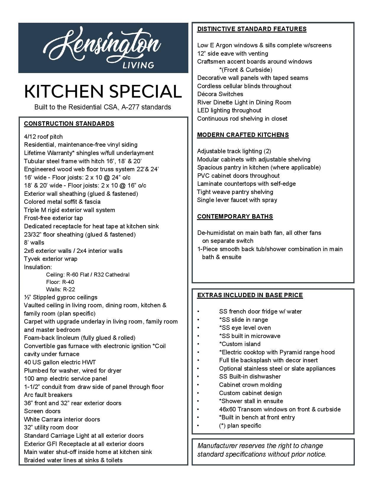 Kitchen Special Specs