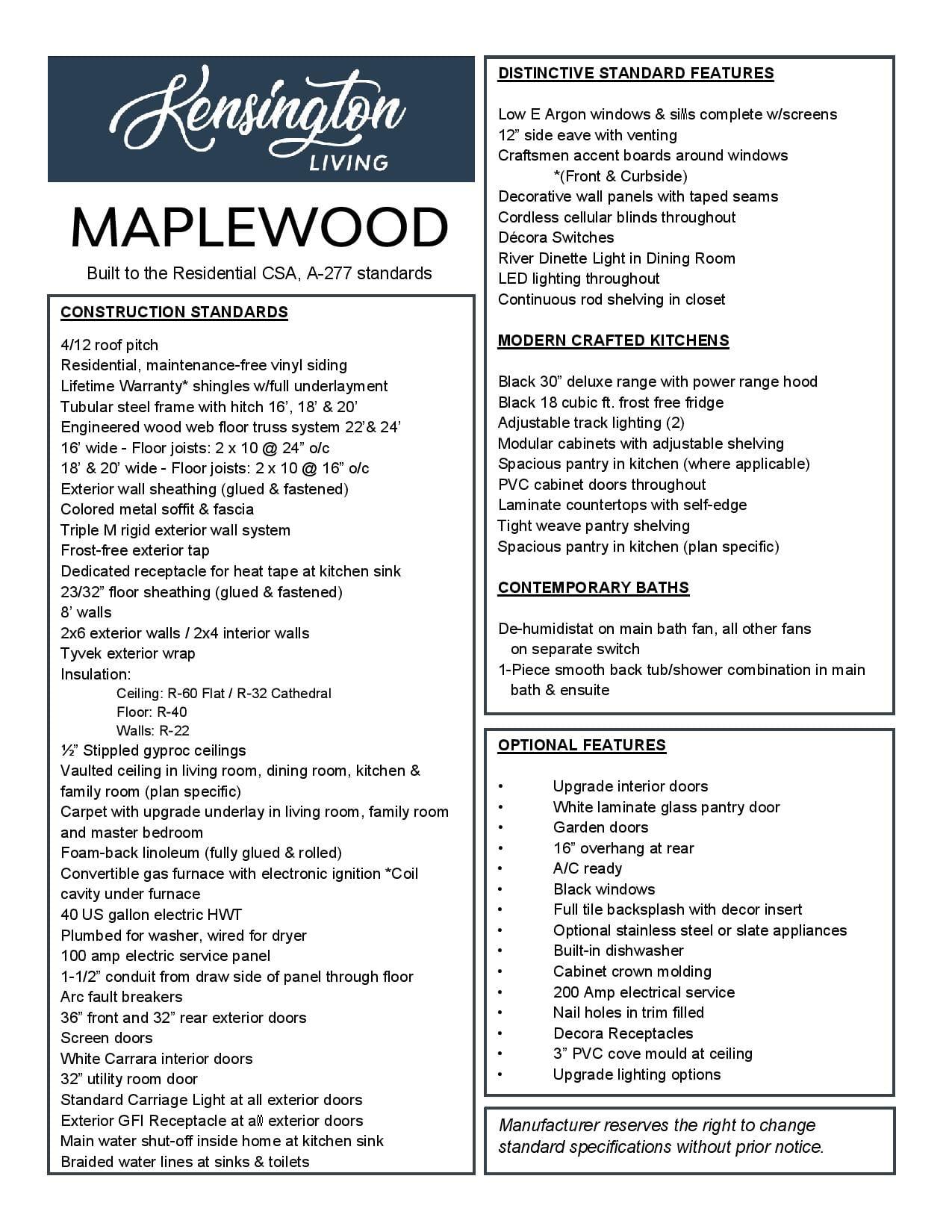 Maplewood Specs