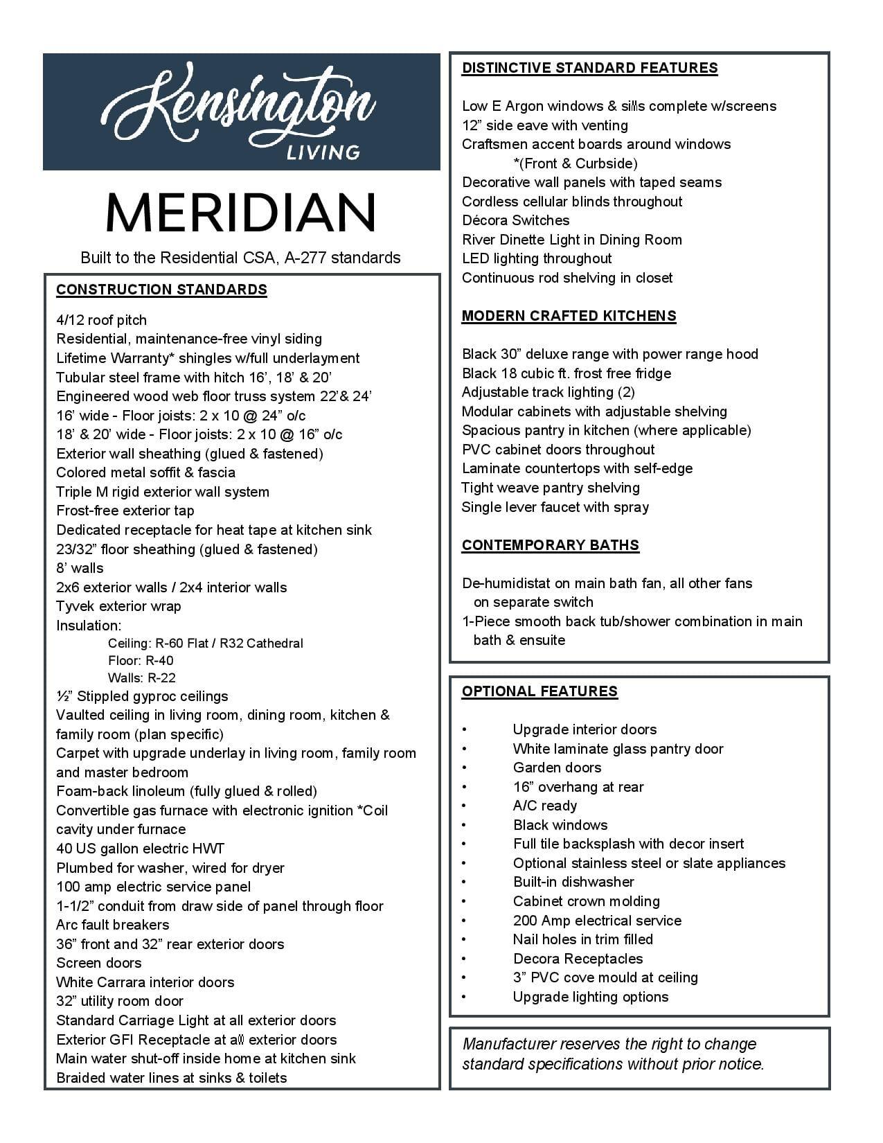 Meridian Specs